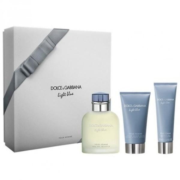 Kit Dolce & Gabbana Light Blue 3 Peças Masculino - Perfume - 125ml + Pós Barba - 75ml + Gel de Banho - 50ml